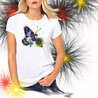 Ladies T-shirt Blue Butterfly Watercolor Art Sizes XS-2X