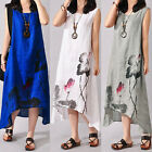 UK 8-24 Summer Womens Sleeveless Floral Loose Casual Long Maxi Dress Plus Size
