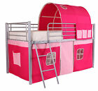 Cabin Metal Loft Bed Frame With Optional Single 3ft Mattress Boys Girls Pink