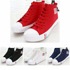 Women Canvas Sneakers High Top US Flag Lace Up Casual Plimsoll Athletic Shoes