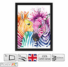LARGE ZEBRA COLOURFUL ANIMAL ABSTRACT MODERN CANVAS + BLACK PICTURE FRAME A4 A3