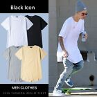 Mens RIPPED YEEZY STYLE DISTREESD Crew Neck Elongated longline t-shirt