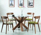 Oscar Round Dining Table - Glass + Solid Walnut Timber -130cm Diameter