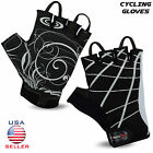 Men Cycling Gloves Cycle Bike Half Finger Fingerless Bicycle Sports Gel Silicone