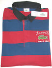 LACOSTE MEN'S LONG SLEEVE COTTON RUGBY SHIRT IN RED AND BLUE HOOPS
