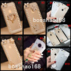 Bling Diamonds Crystal Pearls Thin Clear Soft TPU Back Shell Phone Cover Case V1