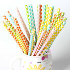 50x Grid Rainbow Colors Retro Vintage for Party Drinking Straws Birthday Wedding