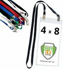 5 Pack - 4x8 Inch Extra Large Ticket & Badge Holders with Double End Lanyards