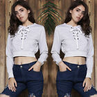 NEW Womens V Neck Long Sleeve Sweatshirt Tops Midriff Hedging Waist Tight Blouse