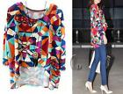 AU SELLER Women's Artsy Pattern Uneven Hem Long Sleeve Blouse Top Tee T073