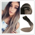 THICK DELUXE BALAYAGE OMBRE CLIP IN REMY HUMAN HAIR EXTENSIONS BlackBrown Blonde