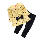2Pcs Kids Baby Girls Cloth Long Sleeve Bowknot Dress + Pants Set Pretty Beauty A