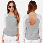 Fashion Ladies' Long Sleeve Shirt Casual Lace Blouse Loose Cotton Tops T Shirt