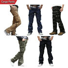 SkylineWears Mens Casual Cargo Pants Solid Military Army Styles Cotton Trousers
