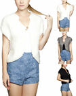 Stand Collar Cap Sleeves Chunky Knit Sweater Vest S/M ~ M/L