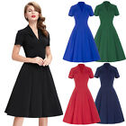 V Neck Sexy Women Vintage 1950's Swing Shirt Style Evening Housewife Prom Dress