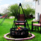 """55"""" Fire Pit Tripod Stand  3/4"""" Solid Steel Legs   22"""" Grill or 22"""" Grate Option"""