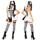 New Black White Devious Harlequin Jester  Clown Fancy Dress Halloween Costume