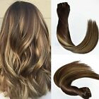 Balayage Clip in Hair Extensions Blonde Highlights Brunette OmbreColor DarkBrown