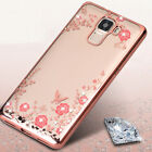 For Various Huawei Phones Luxury Diamond Flower Ultra Thin Clear Back Case Cover