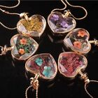 Fashion Women Heart Glass Perfume Bottle Necklace Pendant Stainless Steel Chain