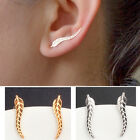 1 Pair Women Fashion Earrings Leafs Shape Gold & Silver Ear Stud Christmas Gifts