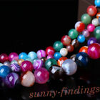 Vintage 5-40PCS Semi Precious Agate Gemstone Round Loose Beads 4/6/8/10/12mm Hot
