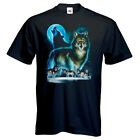 Wolf Silhouette Moon Wolves Pack Printed Unisex Mens T-Shirts Sizes Small-XXL
