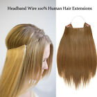 Long Straight Headband Invisible Wire Hair Extensions 100% Remy Human Hair 160g