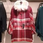 ZARA NEW A/W 2016. RED CHECKED WOOL DETECHABLE FUR COAT JACKET. REF 7690/639.
