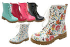 Women Ladies Patent Laced Up Floral Print / Solid Color Ankle Boots Shoes NEW