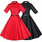 Women Vintage Rockabilly Retro Pinup Swing Dress Cocktail Housewife Dress