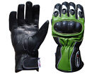 Motorcycle Motorbike Leather Gloves Carbon Kevlar Knuckle KAWASAKI GREEN