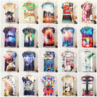 Womens Short Sleeve Shirt Tunic Summer Ladies Printed Graphic T-shirt Blouse Top