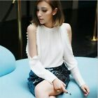 New Trend Women Tops Strapless Beaded Chiffon Shirt Long-sleeved Blouse 2 Colors