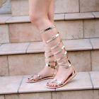 Women's Leather Roman Greek Tall Gladiator Sandals Knee High Flat Heel toe ring