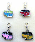 VW CAMPER VAN ENAMEL CHARM ON SILVER PLATED LOBSTER CLASP - 4 COLOURS