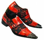 Fiesso Men's Red/Black Genuine Leather Slip On Pointed Dress Loafers w Metal Toe