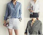 Fashion Women Ladies Casual Loose Shirt Long Sleeve Cotton Tops Blouse Soft New