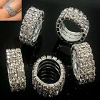 Women's Fashion Silver Crystal Rhinestone 1/3 Rows Stretch Ring Jewelry Gifts