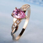 9ct Yellow Gold Filled Pink Tear Drop Cut Cubic Zirconia Love Promise Dress Ring