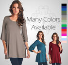 Women's 3/4 Bell Sleeve Tunic Top S-XXL SOLID