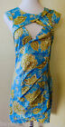 Brand New WHITE CLOSET Blue and Gold Bodycon Cut Out Dress - sizes 8,10,12