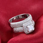 925 Silver Princess Full Zircon Gold GF Women's Engagement Bridal 2 Set Ring