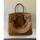 NEW Milan Soft Deep Brown Italian Leather Tote Handbag (GHW) 30CM 35CM