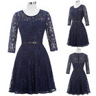 Womens Sexy See-Through Round Neck Lace Evening Prom Party Dress 8 Size US 2~16