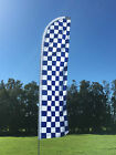 Blue & White Check Swooper Or Flat Top Flag Complete Set Flag, Pole & Spike
