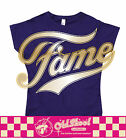 Fame Womans Ladies Retro 80's Chic Movie T Shirt Purple with Gold Design