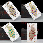 3D Bling Peacock Rhinestone Flip Wallet Leather Case Cover for iPhone 7/7Plus