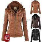Women Bomber Jacket Vintage Winter Overcoat Parka Coat Biker PU Leather Jackets